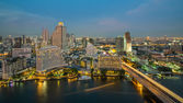 Bangkok City at night time, Hotel and resident area in the capit — Stock Photo