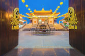 Chinese Temple at dusk, Dragon Temple (Bangkok, Thailand) in Veg — Stock Photo