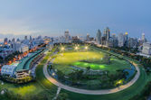 Bangkok city night view with Fish eye view lens — Stock Photo