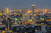 Panorama view of Bangkok city scape at night time — Zdjęcie stockowe