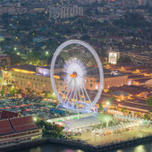 Night, a rotating Ferris wheel — Stock Photo