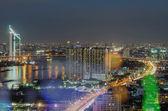 Bangkok stadsbilden. bangkok nattvisning i affärsdistriktet. — Stockfoto