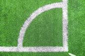 Football (soccer) field corner with white line corner — Stock Photo