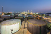 Landscape of oil refinery industry with oil storage tank — Stock Photo
