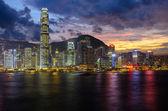 Hong Kong Harbour at sunset — Stock Photo