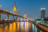 Industrial ring road and floodgate at night , Bangkok, Thailand — Stock Photo