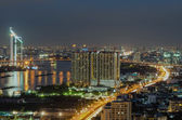 Bangkok cityscape. Bangkok night view in the business district.  — Stock Photo