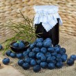Still life with blueberries, confection, jam and twigs — Stock Photo #40287707