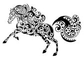 Vintage horse by a pattern — Stock Vector