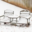 Stockfoto: Snow covered park bench