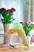 Homemade ice cream with mint — Stock Photo