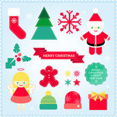 Christmas illustrations icons background — Stock Vector