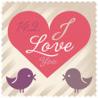 Love letter. Valentine card. Bird. Love bird. — Stock Vector