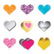 Stock Vector: Love hearts icons. Love collection.