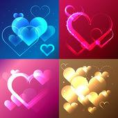 Shiny love heart background. Wedding invitation template. — Vector de stock