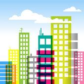 Fond de bâtiments de ville — Vecteur
