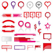 Pins, ribbons, banners. Infographics and web design editable elements. — Stock Vector