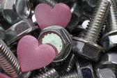 Hearts in screws — Foto de Stock