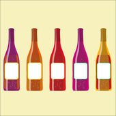 Set of vector colorful wine bottles with sparkles — Stock Vector