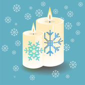 Vector lighting round thick candle with snowflake — Stock Vector