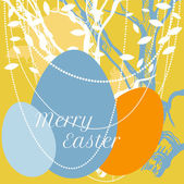 Vector Easter eggs on background with tree and leaves — Stock Vector