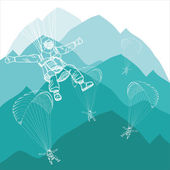 Paragliding sportsmen in winter mountains with snow — Vetorial Stock