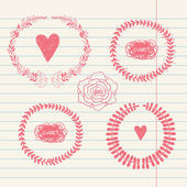 Vector chalk doodle sketch of wreath on lined paper — Vector de stock