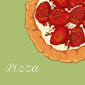 Vector neapolitan pizza with white cheese — Stock Vector