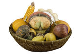 Dry vegetables and fruits as decoration in a basket — Stock Photo