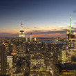 New York City skyline view at dusk — Stock Photo