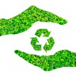 Recycle sign made of green leaf on hands ,isolated on white back — Stock Photo #45004447