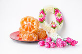 Candy bael  and Jasmin and roses garland, Dessert of Thailand st — Stock Photo