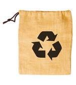 Empty sack bag recycle isolated on white background — Stock Photo