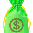 Green money bag with US dollar sign against white background — Stock Photo #47864247