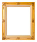 Gold vintage photo frame over white background — Stock Photo