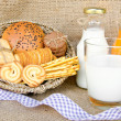 Whole wheat bread and biscuits in breakfast set — Stock Photo #48074465