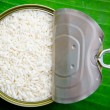 Raw sticky rice in can — Stock Photo