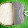 Raw Thai jasmine rice in can — Stock Photo