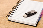 Open diary ring binder and Flash drive — Foto de Stock