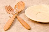 Handcrafted wooden kitchen utensils  — Foto Stock