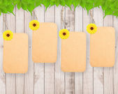 Blank tag and sunflower  — Stock Photo