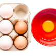 Different fresh eggs and duck eggs. — Stock Photo #51319925