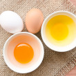 Different fresh eggs and duck eggs. — Stock Photo #51320215