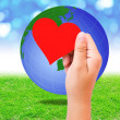 Blank red paper shape in hand and globe on grass background. — Stock Photo #51320491