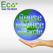 Hand and globe. Reuse Reduce Recycle. — Stock Photo