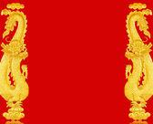 Frame golden Chinese dragon — Stock Photo