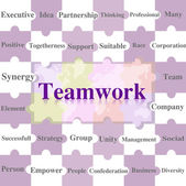 Jigsaw puzzles wording of Teamwork. — Stockfoto