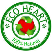 Red Heart in sign recycle and ECO HEART wording — Stock Photo