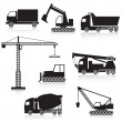 Stock Vector: Icon construction equipment: crane, scoop, mixer