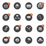 Computer icon: printer, home, gear, button — Stock Vector